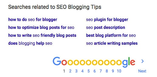 SEO blogging tips - Use Google for long tail keyword suggestions.