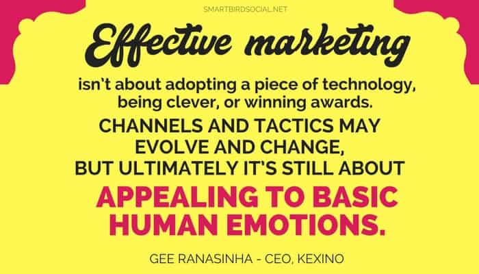 Effective marketing appeals to human emotion.